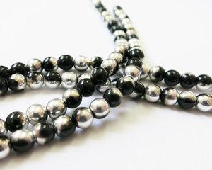 Rund tjeckisk fire polish pärla, Jet Labrador, 23980/27001. 3 mm. En sträng.
