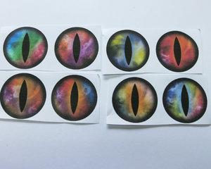 Bilder till runda glascabochoner, 25 mm. Djurögon, 4 stycken.