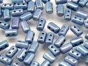 Rulla beads, tjeckisk cylinderformad två hålig pärla, Chalk Blue Luster. 10 gram