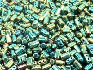 Rulla beads, tjeckisk cylinderformad två hålig pärla, Jet Green Iris. 10 gram