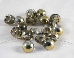 Mushroom beads Crystal Gold, 9*8 mm.20 pärlor/förpackning.