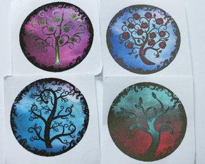 Bilder till runda glascabochoner, 28 mm. Livets träd, 2 stycken.