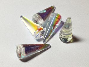 Spike pärlor i crystal AB, 7*17 mm. 5-pack.
