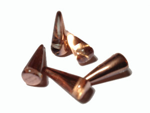 Spike pärlor i crystal med koppar, 7*17 mm. 5-pack.