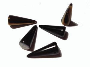 Spike pärlor i svart med guld, 7*17 mm. 5-pack.