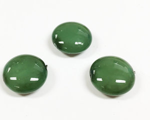 Cushion bead, 14 mm. Shiny Vivid Olivine. 3-pack.