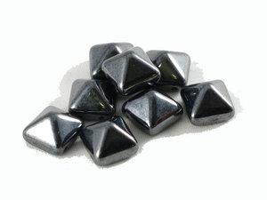 Stud bead, hematitfärgade, 12*12 mm. 10-pack