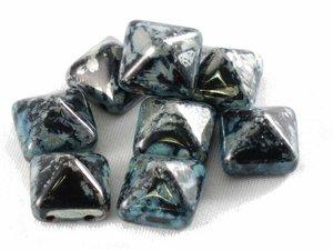 Stud bead, svart picasso, 12*12 mm. 10-pack