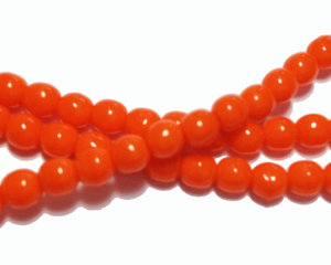 Opaka oranga runda glaspärlor, 4 mm. En sträng