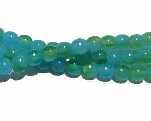Halvopaka melerade gröna och turkosa runda glaspärlor, 4 mm. En sträng