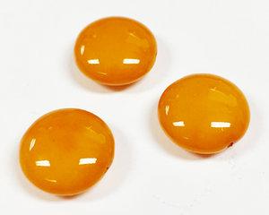 Cushion bead, 14 mm. Shiny Vivid Mustard. 3-pack.