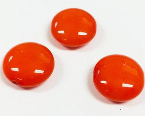 Cushion bead, 14 mm. Shiny Vivid Orange. 3-pack.
