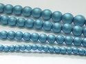 Rund druk tjeckisk pärla, Alabaster Metallic Mat Blue Turqoise, 29436. 8 mm. En längre sträng, 16 cm.