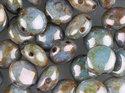 Candy™, 2-hålig cabochon, 8 mm. Alabaster Blue Luster, 02010/65431. 20 st.