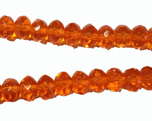 Orange fasetterad donutpärla, 6*9 mm. En 12 cm sträng.