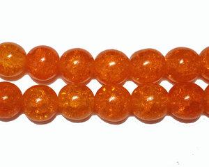 Orange runda krackelerade pärlor, 10 mm. En 12 cm sträng.