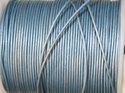 Indiskt läder i metallic ljusblå, 1 mm. Per meter.