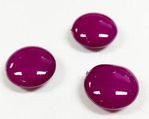 Cushion bead, 14 mm. Shiny Vivid Purple. 3-pack.