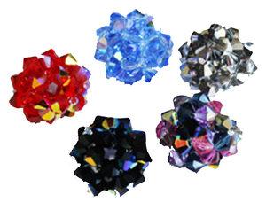 Rund kristallboll med beskrivning.