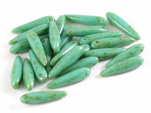 Thorn beads, Jade Picasso, 25-pack.