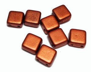Tjeckisk 2-hålig matt metallic tegelfärgad tilepärla, 6*6 mm. 20-pack.