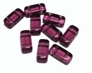 Tjeckisk lila transparent 2-hålig tilepärla (brick), 4*8 mm. 20-pack.