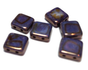 Tjeckisk guldlila 2-hålig tilepärla , 8*8 mm. 10-pack.