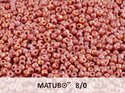 Matubo 8/0, Opaque White Rose/Red Luster. 10 gram.