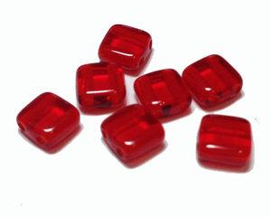 Tjeckisk 2-hålig crystal röd tilepärla, 6*6 mm. 20-pack.