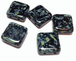 Tjeckisk 2-hålig tilepärla i svart picasso, 12*12 mm. 10-pack.