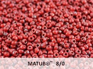 Matubo 8/0, Opaque Red Picasso. 10 gram.