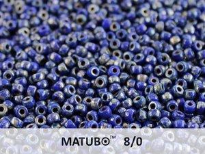 Matubo 8/0, Opaque Blue Picasso. 10 gram.