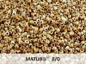 Matubo 8/0, Chalk White Dark Travertin. 10 gram.