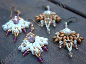 Mönster på örhängena Snowflake av Olga. (skickas per e-post)
