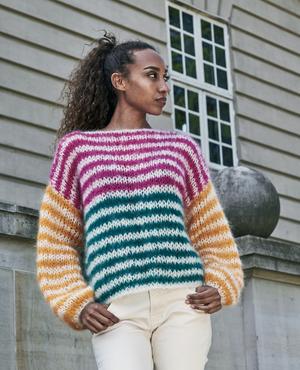 Randig sweater i dubbelt garn - Bella