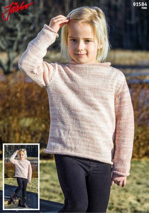 Enkel barntröja med rullkanter