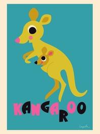 """Affisch Ingela P Arrhenius """"Kangaroo"""" 50x70 cm"""