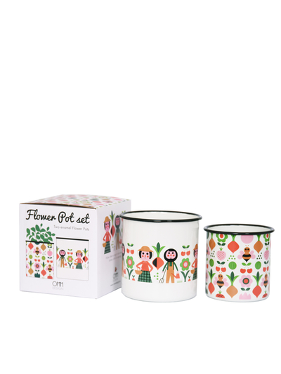 Flower Pot Set Enamel Ingela P Arrhenius 2 pcs, Gardeners
