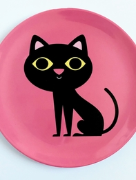 "Plate Ingela P Arrhenius ""Cat on pink"""