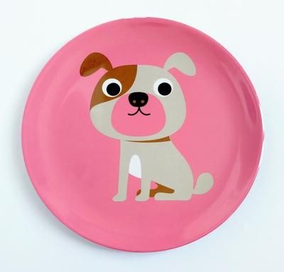 """Plate Ingela P Arrhenius """"Dog on Pink"""""""