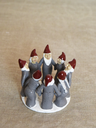 Candle holder Elf Ring Dance 9,5 cm, grey