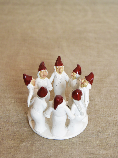 Candle holder Elf Ring Dance 9,5 cm, white