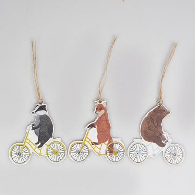 Gift tags, biking animals, set of 12