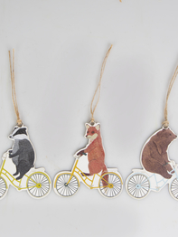 Gift tags, biking animals, set of 12
