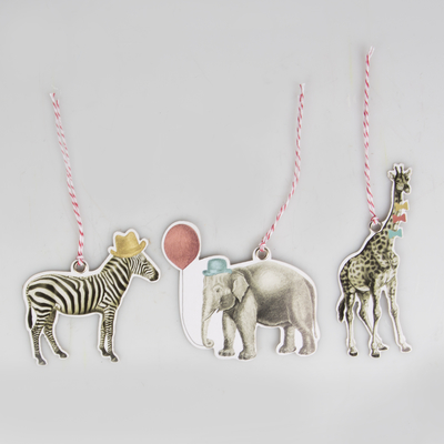 Gift tags, party animals, set of 12