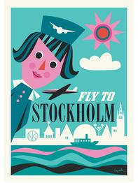 "Affisch Ingela P Arrhenius ""Fly me to Stockholm"" 50x70 cm"