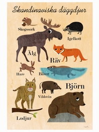 "Poster Ingela P Arrhenius ""Skandinaviska däggdjur"" 50x70 cm"