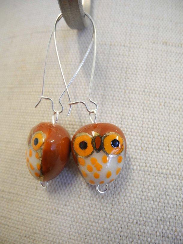 Örhänge uggla - roströd/orange