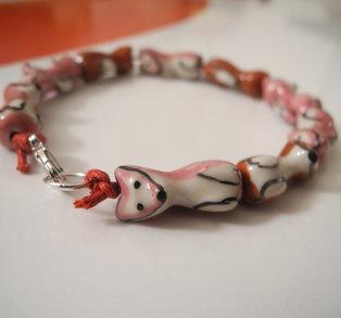 Rosaröd - armband, räv