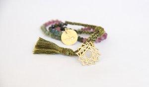 Silk thread chakra bracelet - gold amulet (black, green, brown)